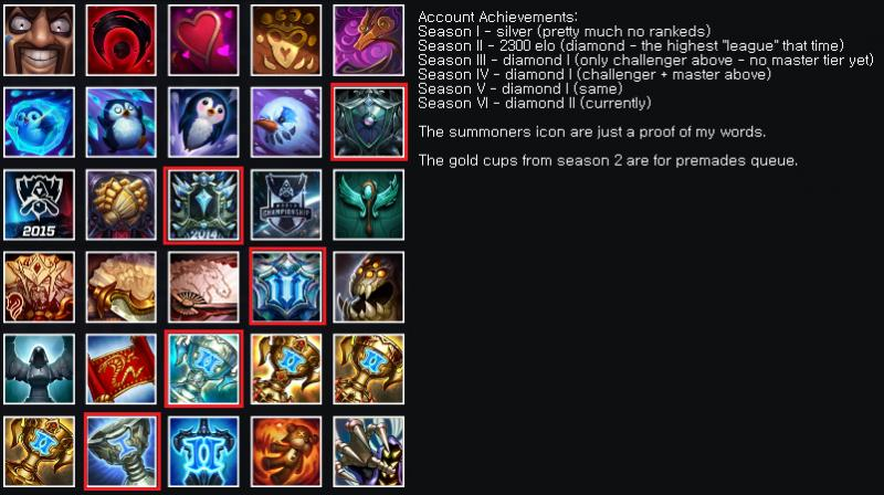 Selling] EUW LoL account 6 seasons old diamond rank