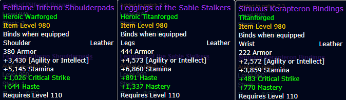 Argus Crafted Items