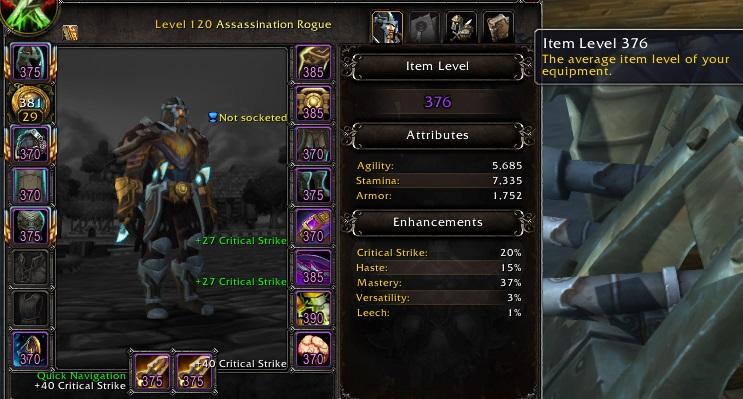 Selling] 376 Assassination,15k Quick Sim DPS, AotC Uldir, 381 ilvl